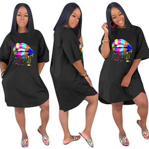 Womens impresión más el tamaño de vestido de diseñador de las mujeres vestidos de Mujer flojo sólido de color Venta caliente 1/2 de la manga Ropa