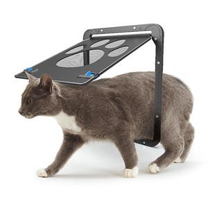 잠금 애완 동물 문 고품질 ABS + 나일론 그물 개 고양이 새끼 고양이 문 안티 물린 보안 플랩 도어 고양이 작은 개 게이트 애완 동물 용품