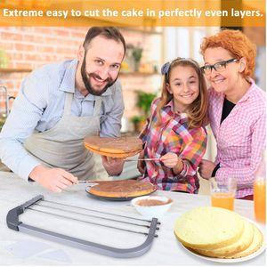 Aço inoxidável bolo Slicer ajustável serra de fio bolo cortador Leveler DIY Baking Tools Pão Pastelaria