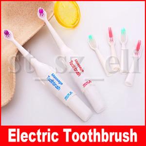 فرشاة الأسنان الكهربائية مدلك + 2 رؤساء فرشاة ماء تبييض نظافة الأسنان الأطفال البالغين تدليك فرشاة الأسنان بطارية تعمل