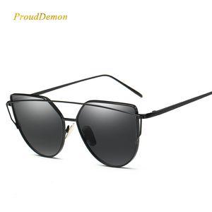 2020 Cat Eye Vintage Brand Designer Rose Gold Mirror Sunglasses For Women Metal Reflective flat lens Sun Glasses Female oculos