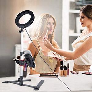 Anillo de luz con soporte de escritorio, mini luz de cámara LED con soporte para teléfono celular Lámpara de mesa con LED con 3 modos de luz 11 Nivel de brillo