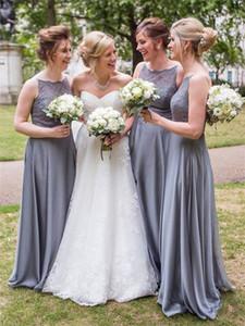 2019 Spitze Brautjungfernkleider Günstige Country StylePleats U-Ausschnitt Sweep Zug Robe de demoiselle d'honneur Hochzeitsgast Kleid BM0336