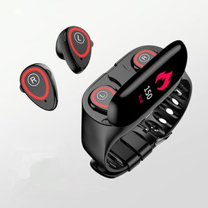 M1 بكلتا الأذنين الذكية سوار لون شاشة بلوتوث اللاسلكية سماعات 5.0 1 2 في خطوة ضغط الدم معدل ضربات القلب ممارسة المراقبة