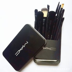 12 unids M AC High Tech Pinceles de Maquillaje Juegos de Maquillaje Set de Cepillos con Caja de Metal Embalaje