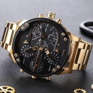 Homens esportes assistir DZ 7311 DZ7313 dz7314 moda mens militar assistir montre homme Grande mostrador aço faixa de relógio de ouro masculino diesels relógio de pulso