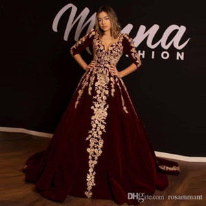 Aturde vestido de noche largo de Borgoña vestidos de baile Celebrity 2019 apliques elegante encaje apliques medias mangas con volantes Formal