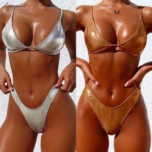 Sexy Shiny Gold Silver Metallic Leather Scoop Neck Biquini Bathing Suit Swimsuit Plus Size Swimwear Women Brazilian Bikini