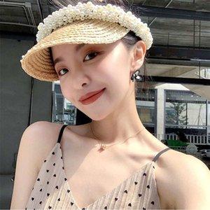 100% naturel raphia chapeaux de paille Femmes d'été 2020 Fabriqué à la main Perle Visor Hat Sun Beach Cap Protection UV Femme Caps top vide