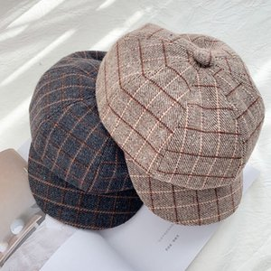 Women Girls Octagon Hat Beret Hats Fashion Casual Classic Plaid Knitted Vintage Newsboy Women's Cap Casquette Femme!