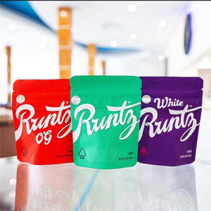 New White Runtz Bag Edibles Retail 350Mg Zipper Bags Packaging Worms Bears Cubes for Dry Herb Vape VS Dank Gummies Mylar In Stock
