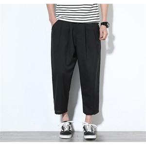 Erkek Harem Pantolon Moda Düğme Fly Gevşek Pantolon Erkek Capris Saf Renk Orta Pantolon Erkek Giyim