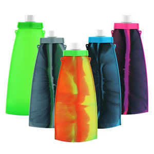 """11.1""""Silicone Water Bag Student Children Cup Outdoor Sports Folding Kettle Water Bags food grade Gel Kettle"""
