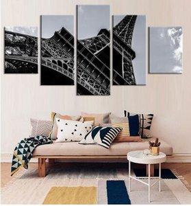 Salon Modern Resim Sergisi için Dekorasyon Resim Duvar Resimleri Boyama 5Pcs / set Moda Eyfel Kulesi Kanvas
