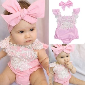 Yenidoğan Bebek Kız Rompers Dantel Çiçek Jumpsuit + saç bandı 2adet Kıyafetler Sunsuit Giyim