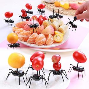 12pcs / Mini Ant Meyve Çatal Çatal Plastik Pasta Tatlı Çatallar Gıda bulaşığı İçin Parti Dekorasyon Seçim set