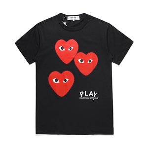Top Quality Summer Fashion Designer C-D-G play T-Shirts #006 Luxury commes des garcons Mens Women Casual Cotton Print red Heart Tees Mask