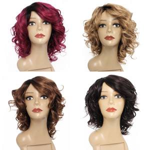 Ombre color machine made short wig natural color Honey blonde Medium brown Bungundy loose wave Brazilian Indian non-remy human hair wig
