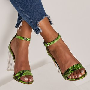 Pretty2019 Crystal Transparent Adhesive Spelling Fluorescence Snake One Buckle Rome High con sandalias de mujer