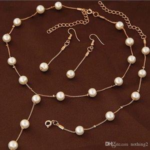 Kadınların düğün takı kolye bilezik küpe basit için desigenr takı inci takı setleri nakliye sıcak fahsion Serbest OLsweet
