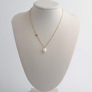Frete grátis real banhado a ouro real Pearl Pendant Colar de letra Hot Moda Venda marca colar com marcas
