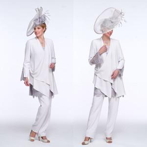 2020 Mère élégante des trois Bride Piece Suit Mère de la longue dentelle Epoux manches avec manteau en mousseline de soie robe de mariée clients