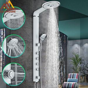 al por mayor Negro Blanco Llaves de baños de ducha set de baño grifo de ducha para montaje en pared grifo mezclador Cascada ABS Panel de ducha de chorros de masaje