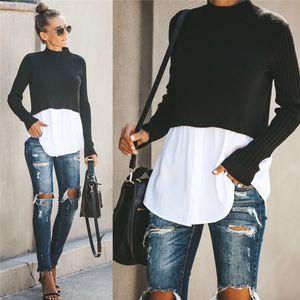 Herbst-Damen Designer Panelled Pullover Mode Rundhalsausschnitt Tops mit Knopf weibliche sexy Pullover Kleidung