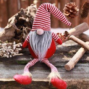 Noël en peluche Père Noël Doll Décoration Striple jambes longues debout poupée Boule de Noël Arbre de Noël FFA3121-2 enfants pendentif décoration cadeau
