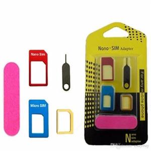 5 in1 metal de aluminio Nano tarjeta SIM a Micro SIM estándar adaptador para Samsung S7 Edge HTC convertidor expulsa el Pin