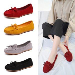 Artı Flat üzerindeki boyut 35-43 Kadınlar Flats Siyah Loafers Sahte Süet Kayma Casual Shoes Kadın Ballet Flats Bean Ayakkabı Bayan N7280 Ayakkabı