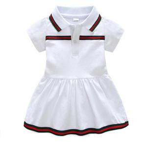 Nouveau 2020 Bébés filles rayé Robes enfants Robe courte manches enfants solides vêtements d'été Fille Robe broderie pour 6M-24M
