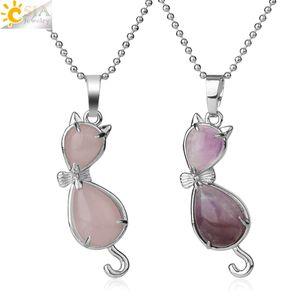 CSJA Natural Stone Cat Animal Pendants Water Drop Healing Pink Quartz Tiger Eye Purple Crystal Lovely Necklaces Women Girls G305