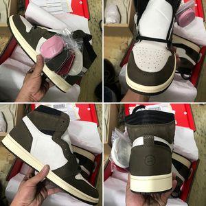 Avec Box 2019 Nouvelle Version Travis 1 Haute OG TS SP Moka Hommes Femmes Cactus Jack Dark Scotts Chaussures De Basket-ball Sport Sneaker 36-47