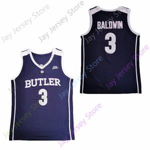 2020 Nuevos NCAA Bulldogs de Butler jerseys 3 Kamar Baldwin College Baloncesto Jersey Armada Todo cosido