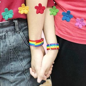 26*2cm Fashion Student Nylon Rainbow Cool Bracelet Colorful Love Hand Strap Ornaments Lovely Bracelets Party Favor ZZA1215 120Pcs