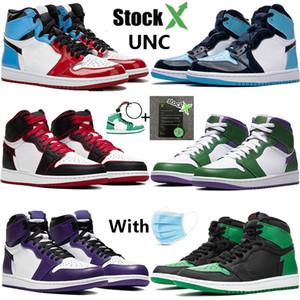 Avec StockX 1 Haute 1 s jumpman chaussures de basket-ball UNC brevet Incroyable Hulk lignée NC à Chi en cuir hommes femmes designer sneakers formateurs