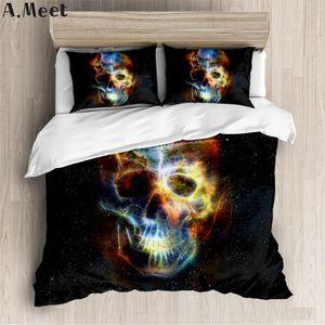 Sugar 3D Skull Bedding Set Couples Fire Flower Duvet Cover Horror Bed Cover Terror Fashion Luxury Quilt Comforter Queen King