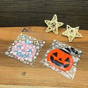 100pcs Halloween auto-adhésif Sac de biscuit bonbons Sac en plastique Cookie Biscuit Sac en plastique citrouille fantôme imprimé sacs-cadeaux pour Cookie VT0567