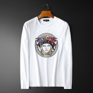 mens designer Mei Dusha sequins embroidery base shirt long sleeve T-shirt fashion
