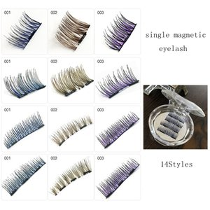 Renkli Tek Manyetik Göz Lashes 3D Kullanımlık Yanlış Mıknatıs Kirpikler El Yapımı Doğal Göz Lashes Gözler Uzatma Güzellik Araçları GGA1765