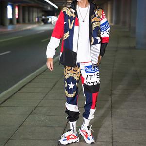 Hip-hop movimiento Traje Trajes Conjunto del varón de pista Sweatsuit hombre del chándal para hombre de las bragas de la cremallera Outwear la chaqueta + pantalones 2PC juegos de muelles 2020 T200628