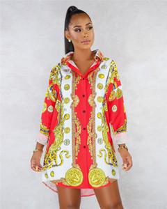 Vestido de camisa para mujer de marca de diseñador Vestido de verano con dobladillo irregular de lujo Vestido de verano de manga larga para mujer