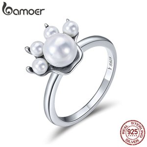 925 Sterling Silver Lovely Cute Cat Doggy Footprints Pearl Anelli di barretta F Donne Paw Trail Ring Wedding Engagement Anniversary Regalo di compleanno