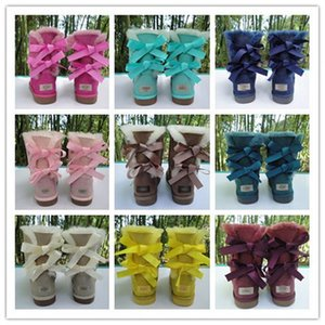 2020 VENTA CALIENTE nueva manera de Australia clásicas botas de cuero reales bajas del invierno Bailey Bowknot arco Bailey botas para la nieve regalo de Navidad de la mujer