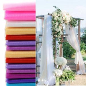 10m * 48cm Shimmery nieve hilado arcos de boda del Organza Crystal Sheer tela de tul para la fiesta de la boda decoración de eventos decoración