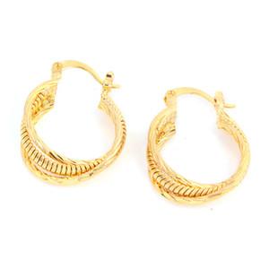Triplo Multicamadas Gold Ligado Geometria Gold Plated Clip Hoop Earring
