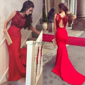Elegant Red Mermaid Lace Beading Evening Dresses Sweep Train Jewel Neck Backless Formal Evening Party Gowns 2020 New Vestidos De Fiesta