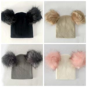 Ins Winter Children Hats Fur Pom Pom Ball Hat Girl Boy Wool Baby Cap Toddlers Kids Knit Beanie Warm Hats Xmas Gifts RRA2578