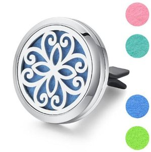 30mm 7 Models Stainless Steel Car Air Freshener Perfume Essential Oil Diffuser Necklaces Locket Home Essential Friendship Gift 2019 New Sale
